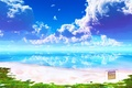 Картинка море, пляж, небо, облака, пейзаж, гладь, отражение, табличка, рай, y-k