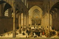 Картинка Интерьер Церкви с Проповедью Христа к Толпе, мифология, картина, Корнелис ван Далем