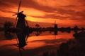Картинка Kinderdijk sunset, нидерланды, мельницы, windmills, небо