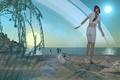 Картинка море, скафандр, девушка, солнце, космос, пляж