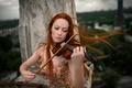 Картинка рыжеволосая девушка, Георгий Чернядьев, скрипка, The music of wind