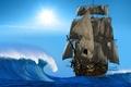 Картинка Корабль, 3D Графика, Парусник, фото, Море, Волны