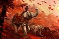 Картинка тигр, лучник, кират, слон, воин, трава, Far Cry 4