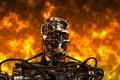 Картинка металл, огонь, сталь, робот, киборг, terminator, Терминатор, t-800