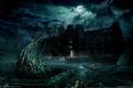 Картинка Alone in the dark, полнолуние, заброшенный дом, мистика, ночь