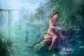 Картинка азия, магия, арт, ребенок, водопад, ивы, водоем, речка, вода, девушка, младенец, скалы, лотос, река, лес