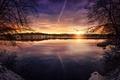 Картинка солнце, закат, озеро, обработка, Peaceful Lake