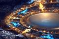 Картинка C-91, узор, deviantart, золотой, синий, круг, свечение