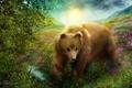 Картинка трава, природа, рендеринг, медведь, мишка