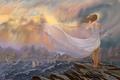 Картинка корабли, горы, ожидание, лента, ветер, море, девушка, платье