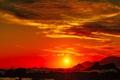 Картинка море, солнце, волны, горы, зават, облака