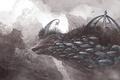 Картинка причудливость, камни, птицы, арт, существо