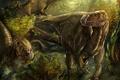 Картинка динозавры, iguanodon, игуанодон, арт, лес