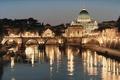 Картинка мост, Италия, искусство, город, огни, Rod Chase, Рим, Собор Святого Петра, Тибр, Базилика, Glory of ...