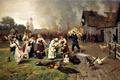 Картинка картина, животные, ситуация, дома, паника, живопись, люди, Пожар в деревне, Дмитриев-Оренбургский, дым, улица, огонь