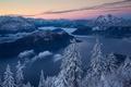 Картинка рассвет, восход, озеро, Mount Rigi, панорама, деревья, Lake Lucerne, Alps, Фирвальдштетское озеро, ели, гора Риги, ...
