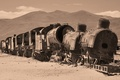 Картинка пустыня, развалины, вагоны, поезд