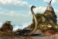 Картинка море, камни, арт, динозавр, deskridge, ракушки, чайки