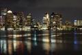 Картинка Бостон ночью, ночные огни, река, город