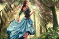 Картинка цветы, свет, арт, деревья, улыбка, лицо, волосы, листья, платье, кудри, девушка, шар, ноги, лес