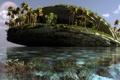 Картинка пальмы, остров, арт, море, вода, klontak, скалы, пейзаж