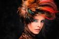 Картинка портрет, макияж, перья, Jaleesa, головной убор, ретушь