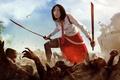 Картинка Dead Island, трупы, арт, art, битва, girl, рисунок, кровь, меч, Сянь Мэй, катана, Epidemic, blood, ...