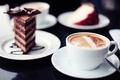 Картинка сладости, кружка, кусочек торта, широкоэкранные, капучино, HD wallpapers, обои, тортик, полноэкранные, background, fullscreen, широкоформатные, фон, ...
