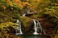 Картинка осень, лес, деревья, пруд, камень, водопад