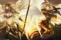 Картинка ангелы, копье, меч, крылья, воины