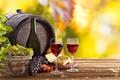 Картинка листья, вино, сыр, виноград, бочка