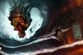 Картинка море, волны, мост, молнии, дракон, дым, арт, ярость, искры, всадник, арки, пегас, Antonio De Luca