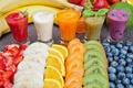 Картинка strawberry, Juice, киви, сок, cocktail, черника, коктейль, Drinks, Fruit, carrot, клубника, морковь, blueberry, апельсин, orange, ...