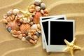 Картинка сердце, photo frame, seashells, ракушки, песок, sand, starfishes, texture, heart