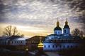Картинка закат, церковь, купол, Украина, Киев, Печерская лавра