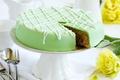 Картинка baked, глазурь, десерт, dessert, выпечка, cake, зеленый, торт, цветы