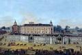 Картинка картина, карета, Francesco Battaglioli, Вид на Дворец Аранхуэс, люди, пейзаж