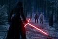 Картинка лес, снег, деревья, ночь, фантастика, меч, Finn, Star Wars: The Force Awakens, Kylo Ren, Звёздные ...