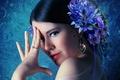 Картинка взгляд, брюнетка, девушка, цветок