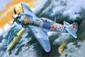 Картинка земля, арт, воздушный бой, Ла-5ФН, немецкий, советский, МессершмитBf - 109, дым, рисунок, ВоВ, истребители, небо, ...