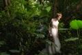 Картинка прогулка, лицо, лес, платье, азиатка