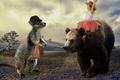 Картинка девочка, медведь, настроение, ситуация, радость, кенгуру