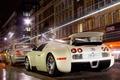 Картинка Bugatti, veyron, город, ночь, огни, выдержка