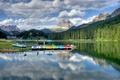 Картинка деревья, горы, озеро, лодки, Италия, Мизурина