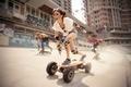 Картинка девушка, движение, спорт, скорость, защита, доска, скейт, скейтборд, наколенники, налокотники, скейтбордисты