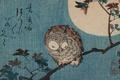 Картинка гравюра, Утагава Хиросигэ, Utagawa Hiroshige, Спящая сова на ветке на фоне полной луны, японский художник-график