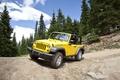 Картинка джип, дорога, Jeep Wrangler 2011, жёлтый, серпантин