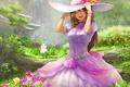 Картинка шляпа, цветы, арт, бревно, кролик, белый, девушка, эмоции, заяц, радость, guchico, платье, pixiv