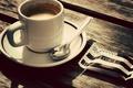 Картинка блюдце, конфета, стол, чашка, кофе, ложка