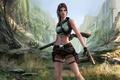 Картинка поза, Tomb Raider, деревья, дробовик, ущелье, девушка, тень, Lara Croft, пистолет